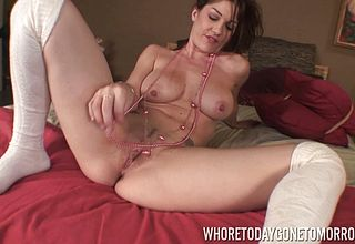 Luscious Cougar With Meaty Funbags stroking viciously with her Bang stick