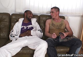 Older grandma ambidextrous racial Double Penetration
